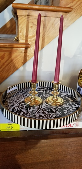 Group of Baldwin Brass Candlesticks and Serving Tray
