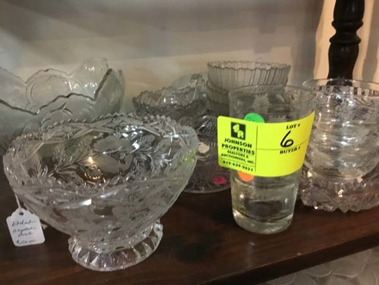 Cut Glass Lot of Shamrock Dish Set, Etched Compote Bowl, and Large Fluted Fruit Bowl
