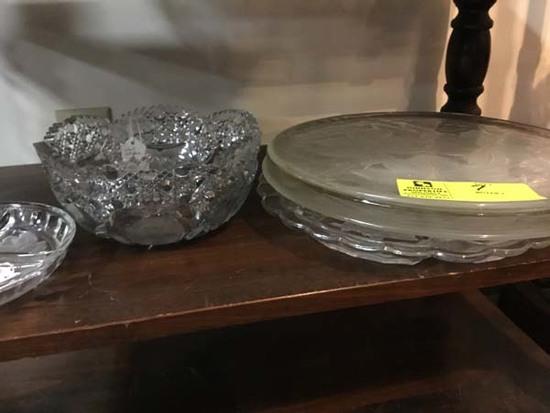 Heavy Cut Glass Rose Bowl, Div. Fostoria Dish, Large Fostoria Serving Tray, Dove Flower Cake Plate