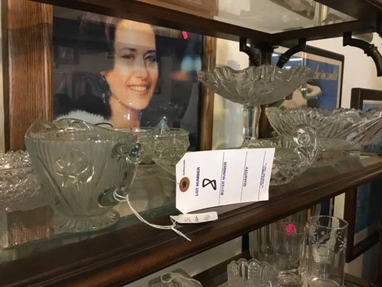 Shelf of Cut Crystal Compote, Nappy Dish, Iris Creamer, and Large Fruit Bowl