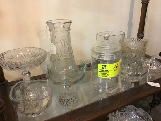 Shelf of Cut Glass & Leaded Glass includes Hand Etched Fish Vase, Floral Wine Carafe, Compote