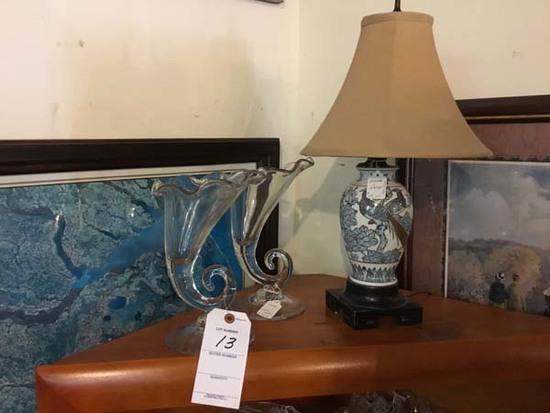 Porcelain Blue and Gold Pheasant Oriental Lamp and Pair of Cornucopia Vases