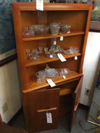 "1950's Hard Rock Maple Corner Cabinet; 32"" wide x 59.25"" tall"