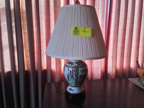 "Designer Lamp with Asian Rose Medallion Design and Shade; 24"" tall"