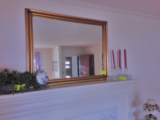 "Beveled Mirror with Gold Ornate Frame, 45"" long x 35"" tall"