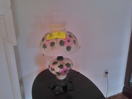 Hurricane Style Electric Lamp with Brass Base, Hand Decorated