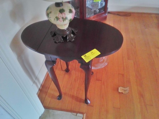 "Small End Table with Drop Leaves; Opened 27"" long x 16"" wide x 25"" tall; Excellent Condition"