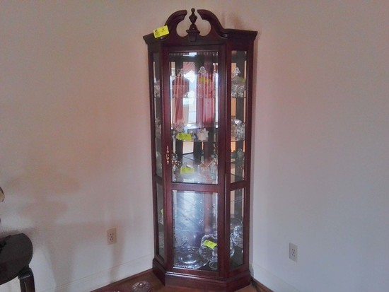5 Sided, Lighted Corner China Cabinet with Beveled Glass Door, Brass Pull, and 5 Shelves