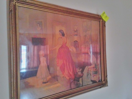 "Vintage Framed Print, Signed by Frederick Mizan, with Victorian Women in Formal Area, 33""  x 27.5"""
