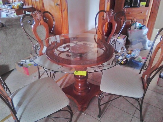 "Dining Set, Glass Top with Wood and Metal Base, Wood Pedestal, 44"" diameter, 4 Matching Chairs"