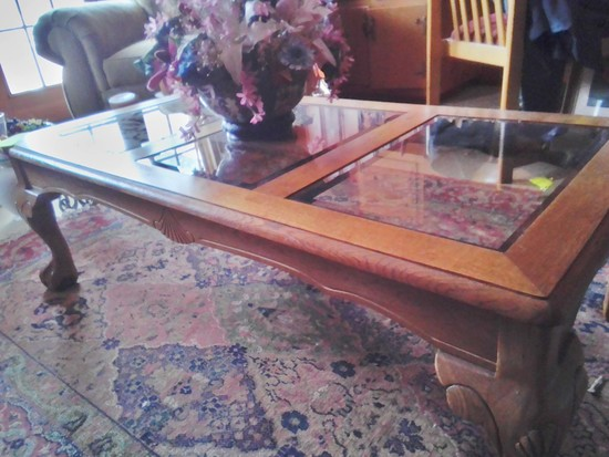 Oak Coffee Table (matched to Lot #23) with Smoked Glass Inserts