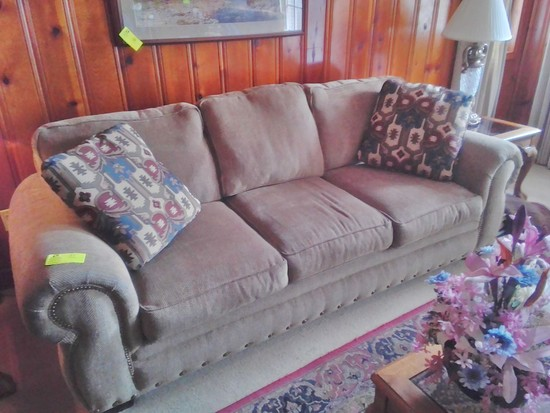 Upholstered Couch 3 Cushioned Seatswith Brass Tacks and Decorative Accent Pillows