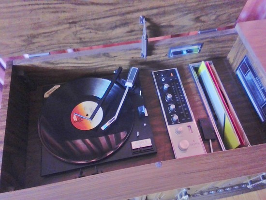 Zenith Solid State Stereo, Allegra Sound System with 8 Track, Turntable, and AM/FM Radio
