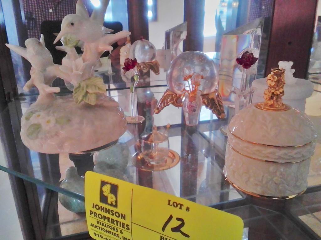 Grp. of Decorative Items includes Hummingbird Musical Figurine, Lenox Ring Box, & Asst. Glass Pieces