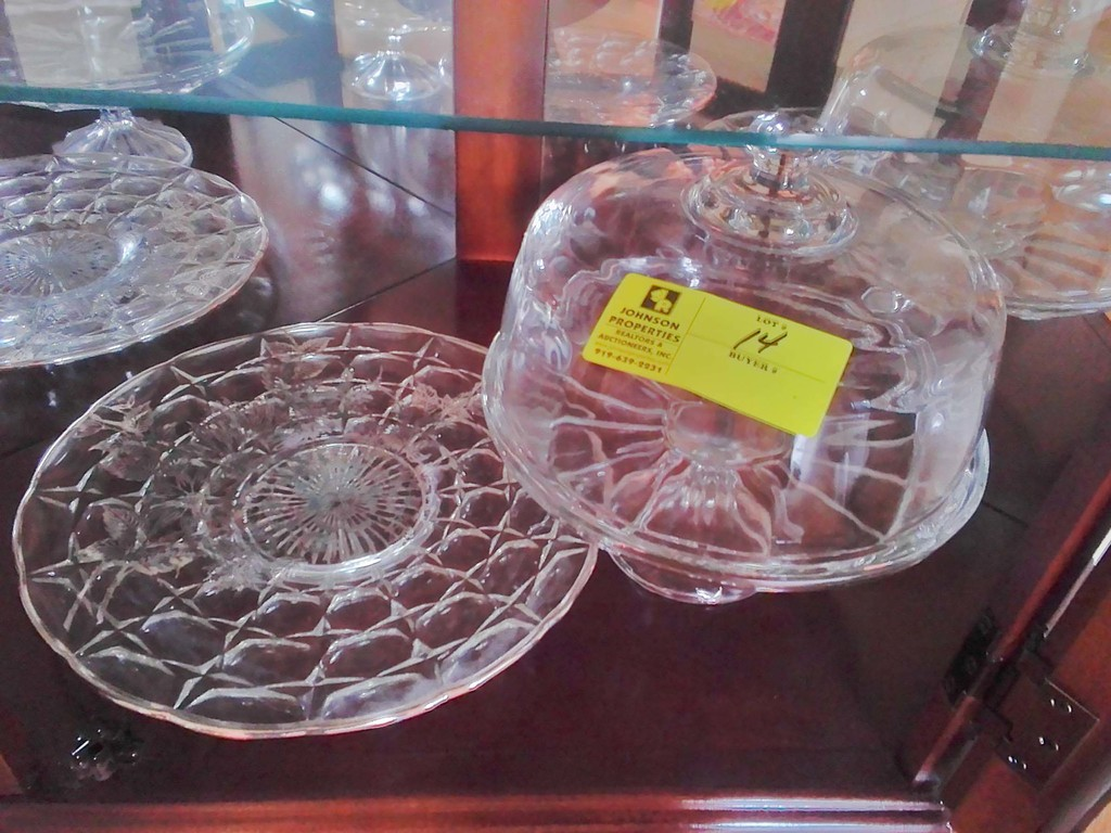 Glass Covered Cake Stand plus Cake Plate with Silver Hand painted Decorations
