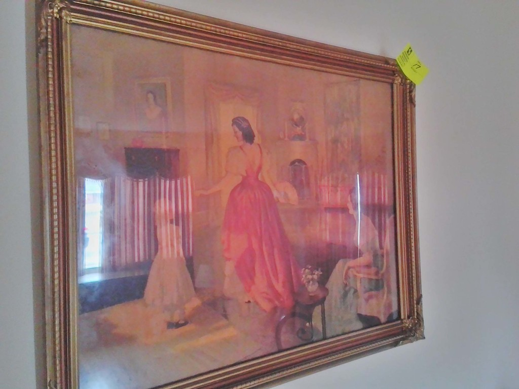 """Vintage Framed Print, Signed by Frederick Mizan, with Victorian Women in Formal Area, 33""""  x 27.5"""""""