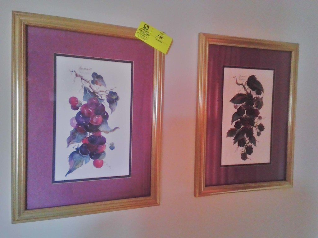 "Pair of Prints by B. Sumroll, Signed, Still Life Blackberries and Grapes, Purple Matting, 20"" x 15"""