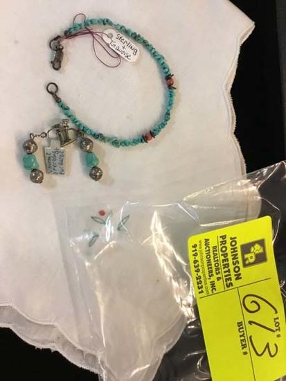 Vintage Native American Sterling Silver, Turquoise, & Coral Screw Back Earrings & Bracelet Set