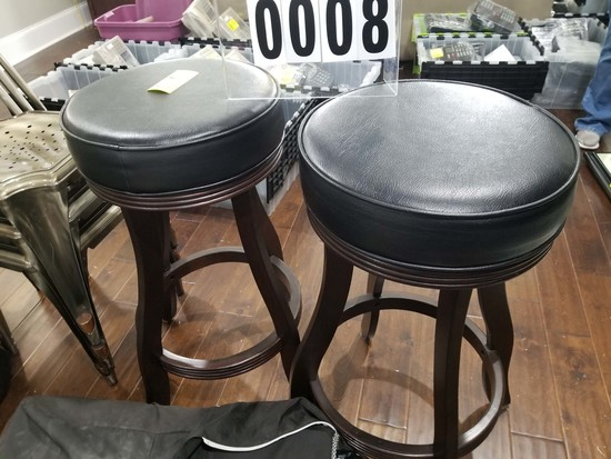2 Padded Bar Stools with Leather Seats and Wooden Legs
