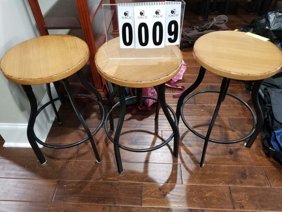 Set of 3 Bar Stools with Wooden Tops and Metal Legs