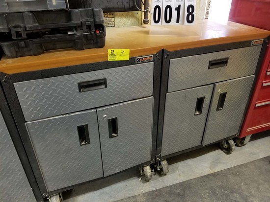 Gladiator Work Bench with Wooden Top has 2 Drawers and 4 Cabinet Doors on Casters