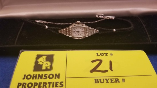 Estate Jewelry: Hamilton Vintage Lady's Watch with genuine diamonds; 14K white gold case