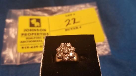 Estate Jewelry:  Diamond Cluster Ring w/wide band, 14K Gold, 1.06 Carat Diamond Weight