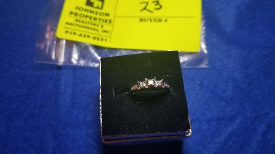 Estate Jewelry:  3-Stone Diamond Ring, 14K White Gold,  Princess Cut