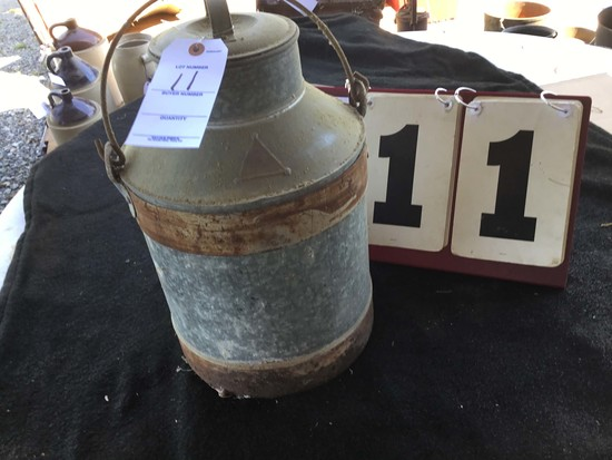 "Milk Pail, Metal, Marked No. 15, Approx. 11"" Diameter x 17"" Tall"