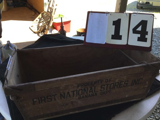 Wooden Box, Stamped Property Of First National Stores Inc. Banana Department, Stamped 12-61