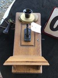 Antique Wall Crank Telephone, Oak Cabinet, Approx. 9 1/2