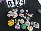 Advertising Buttons:  Large Group - NC State, Lillington, NC, Vote for Kids, AARP, Mattel