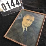 Framed Color Portrait of FDR in Original Frame 17