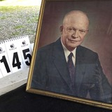Framed Color Portrait of Dwight D. Eisenhower in Original Frame 18
