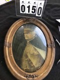 Framed Military Portrait in Vintage Oval Frame with Flags and Wreath Decoration, Bubble Glass
