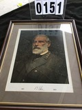 Framed Color Litho Print of General Robert E. Lee (1807-1870), Wood with Gold Accent Frame