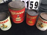 Luzianne Coffee and Chicory Tins, 2 White Label 1-Pound Cans