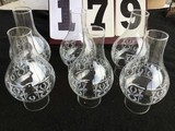 Group of 6 glass chimneys w/ painted sides, approx. 8 1/2