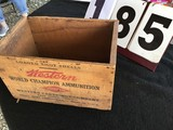 Wooden box, stamped Western Xpert World Champion Ammunition, 12 Ga. Shotgun shell
