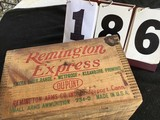 Wooden box, stamped Remington Express, made by Dupont, 12 Ga. Shotgun shell