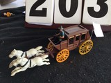 Cast iron stage coach w/ driver & 2 white horses, approx. 12