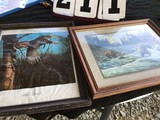 2 framed wildlife prints w/ glass, (1) wild turkey by Ken Davies, approx. 19