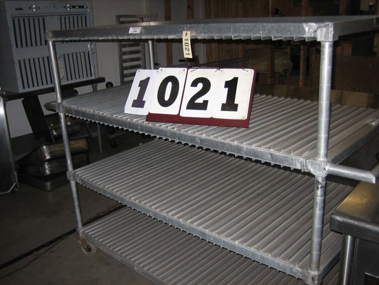 Used Aluminum Heavy Duty Tray Cart on Casters with 3 Shelves