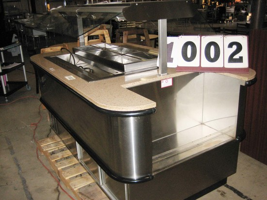 "Used Barker 72"" 5 Well Cold Bar with Sneeze Guard"