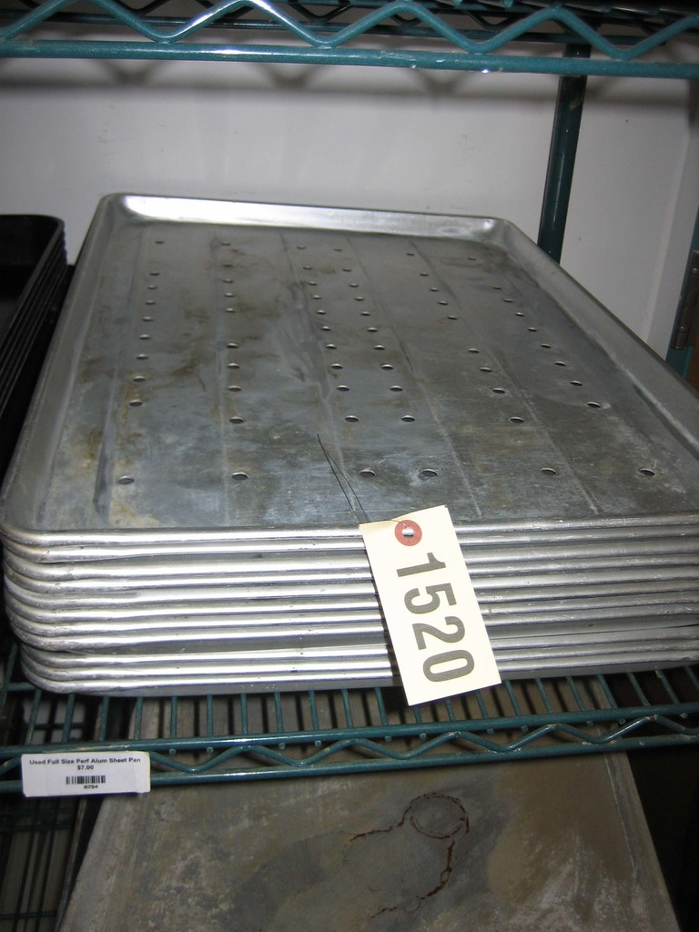 11 Used Full Size Perforated Aluminum Sheets Pans