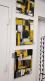 Group of 4 Oil on Canvas Modern Art Prints, Yellow, Black, and White