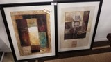 Group of 2 Framed Modern Art Prints with Glass Covers; 35x27