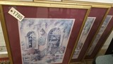 Group of 3 Framed Prints with Burgundy Matting; Each are 32x26