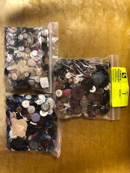 3 Bags of Vintage Buttons