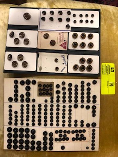 Lot of Antique Victorian Black Jet Glass Matching Bowl Buttons